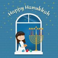 feliz hanukkah cartão comemorativo menina judaica na janela com símbolos tradicionais vetor