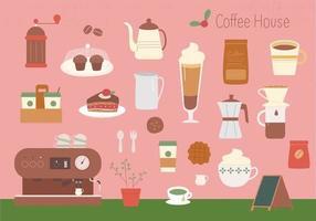 uma coleção de bebidas e objetos no café. vetor