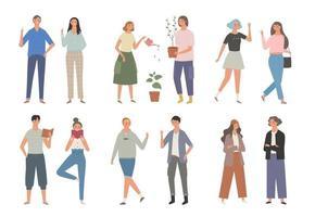 coleção de personagens masculinos e femininos em diferentes estilos de moda. vetor