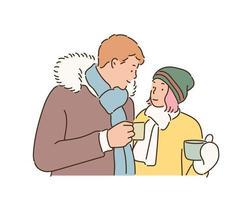 casal no estilo de moda de inverno, segurando uma bebida quente nas mãos. mão desenhada estilo ilustrações vetoriais. vetor