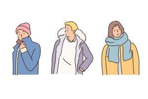 pessoas da moda de inverno. mão desenhada estilo ilustrações vetoriais. vetor