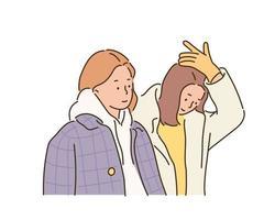 duas mulheres com casacos de inverno. mão desenhada estilo ilustrações vetoriais. vetor