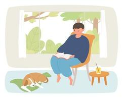 fora da janela há uma vista para o jardim e um menino está lendo um livro. um cachorro dorme sob seus pés. vetor