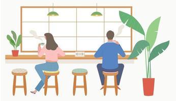 vista traseira de um cliente sentado em um café. vetor