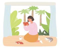 uma garota lendo vagarosamente um livro no chão de uma casa com jardim. um gato está dormindo ao lado dela. vetor
