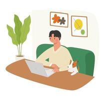 um homem está sentado no sofá olhando para um laptop e um cachorro está ao lado dele. vetor