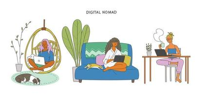 mulheres com roupas confortáveis e sentadas em cadeiras para trabalhar. vetor
