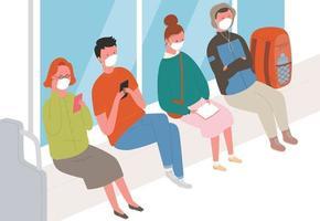 passageiros no metrô usando máscaras. vetor