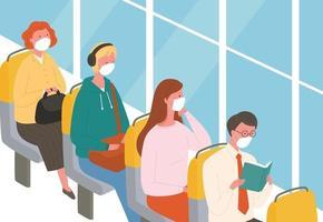 passageiros no ônibus usando máscaras. vetor