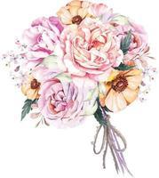 buquê rosa e papoula com aquarela 5 vetor
