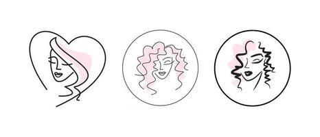 conjunto de logotipo de rosto de menina. emblemas para salão de beleza ou spa vetor