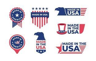 coleção de logotipo de crachá made in USA vetor