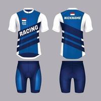 modelo realista de camiseta de bicicleta em azul e branco vetor