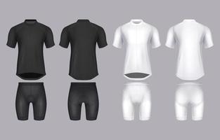 camisa de bicicleta realista e modelo curto vetor