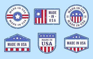coleções de emblemas made in eua vetor