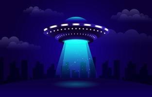 ufo iluminando um fundo de campo vetor
