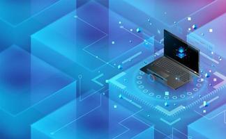 conexão de energia do laptop futurista. conceito de tema complementar background.vector e ilustração vetor