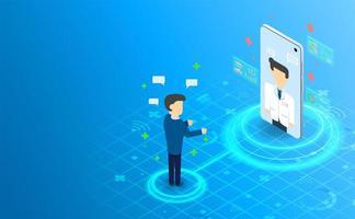 isométrica telemedicina on-line consultar com o conceito doctor.future. vetor e ilustração