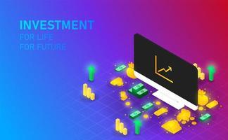 investimento na tela do monitor ganha dinheiro e ouro para ficar rico. dinheiro ouro em vetor e ilustração de bakcground