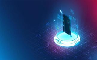 smartphone futurista no reator para conexão de energia. conceito de tema complementar background.vector e ilustração vetor