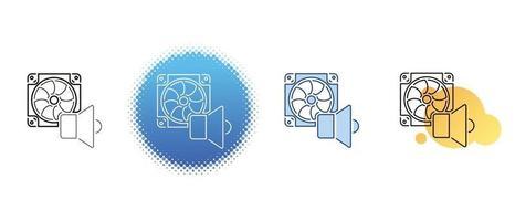 este é um conjunto de ícones de contorno e cor para o ruído do cooler do computador vetor