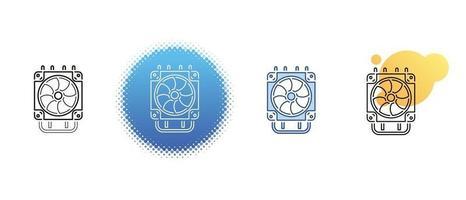 este é um conjunto de ícones de contorno e cor para o radiador do computador vetor
