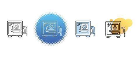 este é um conjunto de ícones de contorno e cor da unidade de sistema do computador vetor