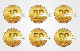 coleções de emblemas de aniversário de ouro vetor