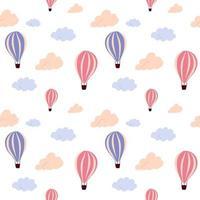padrão sem emenda com balão de ar quente a voar e nuvens coloridas, sobre um fundo branco. textura infinita de vetor para design de viagens.