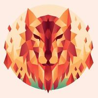cabeça de lobo colorido estilo triangular abstrato vetor