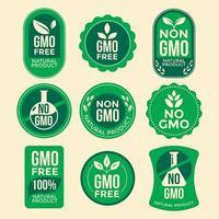 conjunto de emblemas verdes livres de gmo vetor