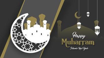 feliz ano novo islâmico ilustração vetorial de fundo vetor