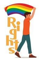 homem segura uma bandeira do arco-íris enquanto caminha pelo movimento LGBT e a grande palavra dos direitos está de volta. vetor