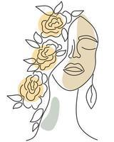 rosto feminino com os olhos fechados arte vetorial vetor