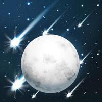 chuva de meteoros ao redor da lua vetor