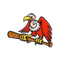 abutre empoleirando-se no mascote do taco de beisebol arte vetorial vetor