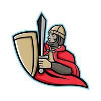 rei medieval com arte vetorial de mascote de escudo e espada vetor