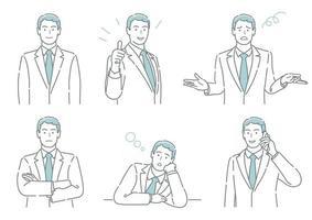 conjunto de vetor de empresário com diferentes poses expressando uma variedade de emoções isoladas em um fundo branco