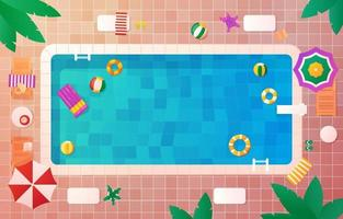 piscina de verão vista superior vista de fundo vetor