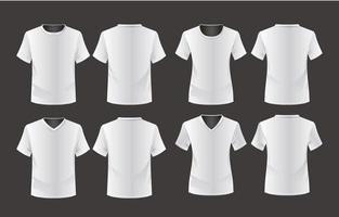 conjunto de modelo de maquete de camiseta em branco vetor