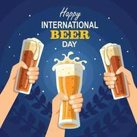 conceito de celebração do feliz dia internacional da cerveja vetor