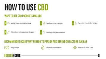 como usar cbd, usos médicos para óleo cbd de planta de cannabis, pôster branco com infográfico de benefícios médicos vetor