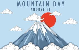 dia da montanha no Japão em 11 de agosto banner com monte fuji vetor