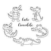 conjunto de desenho bonito de crocodilo. vetor