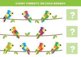 conte o número de papagaios em cada galho. jogo de matemática para crianças. vetor