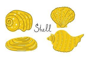 conjunto de mão desenhada conchas do mar. ilustração plana moderna. vetor
