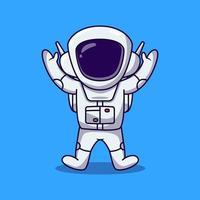 astronauta bonito pulando e levantar a ilustração dos desenhos animados de 2 mãos. vetor dos desenhos animados do astronauta