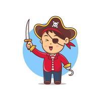 pirata bonito dos desenhos animados segurando a ilustração vetorial de espada. fantasia de halloween para criança vetor