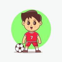 ilustração em vetor kawaii de jogador de futebol fofo