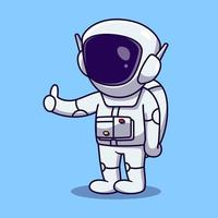 bonito astronauta polegar para cima desenho animado ilustração vetorial vetor